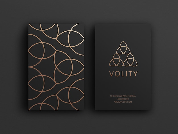 Black and golden luxury business card mockup