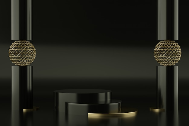 Black and golden podiums for product presentation