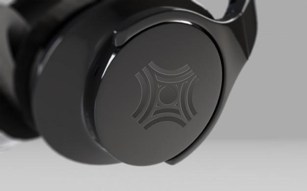 Black headphone on grey