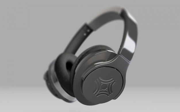회색에 검은 색 헤드폰