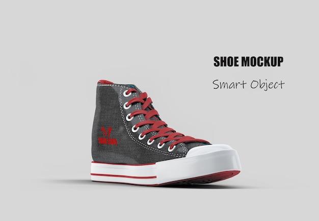 Изолированный макет черной высокой холщовой обуви