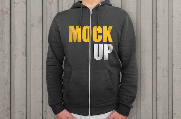 Black hoodie with zipper mockup