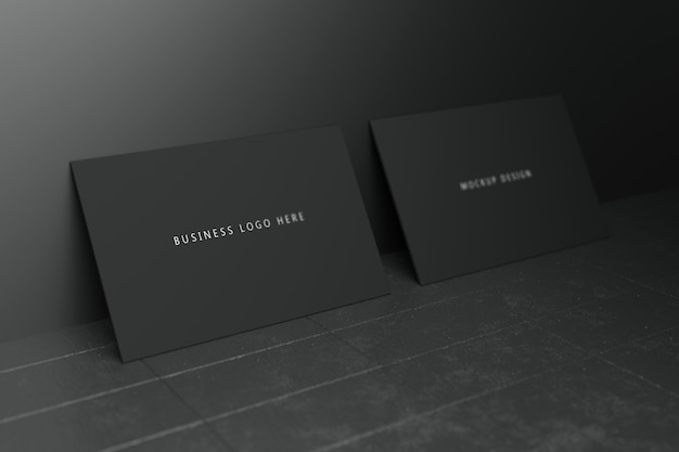 Black horizontal business card paper mockup template with blank space cover