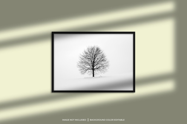 Black horizontal photo frame mockup with shadow overlay and pastel color background