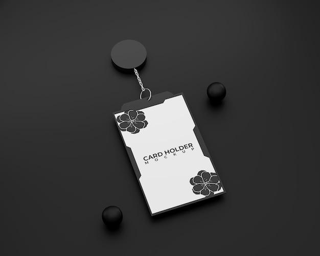 Black id card holder mockup