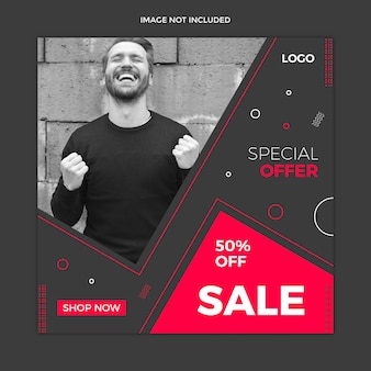 Black instagram post, square banner or flyer template