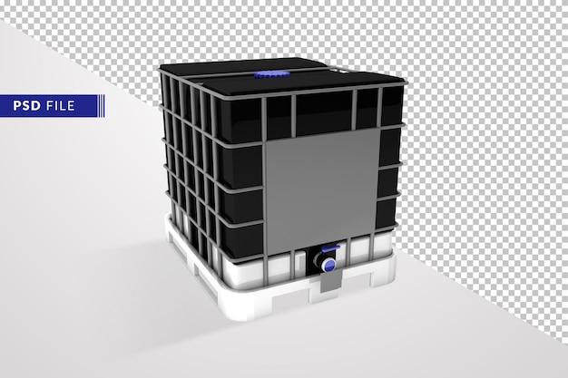 Черный промежуточный контейнер для массовых грузов 3d визуализации изолированные