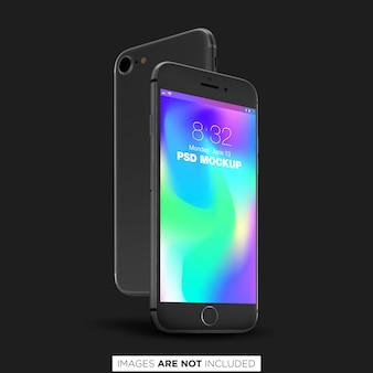 Black iphone 8 psd mockup