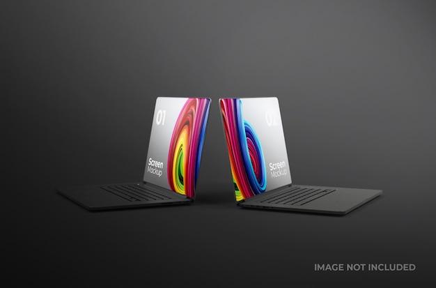 分離された黒いノートパソコン画面粘土モックアップ