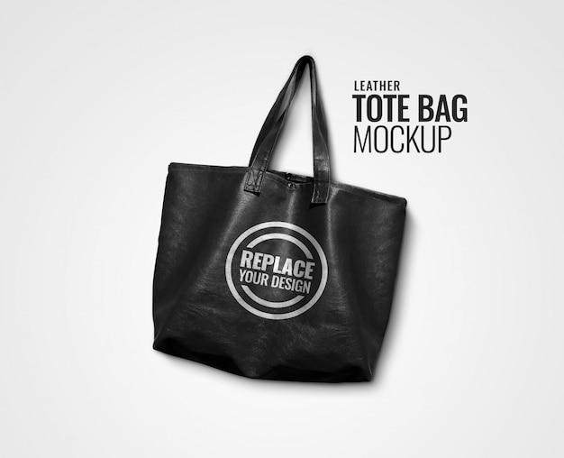 Black leather bag mockup realistic