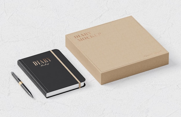 Black leather diary mockup and beige cardboard box mockup for logo and brand presentation 3d render