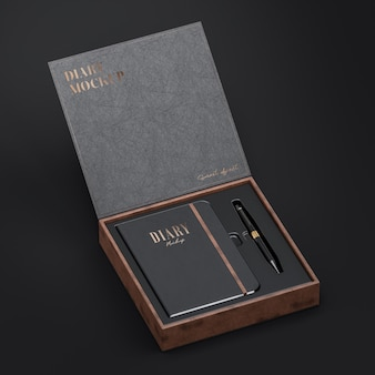 Black leather diary mockup and leather box mockup for logo and brand presentation 3d render