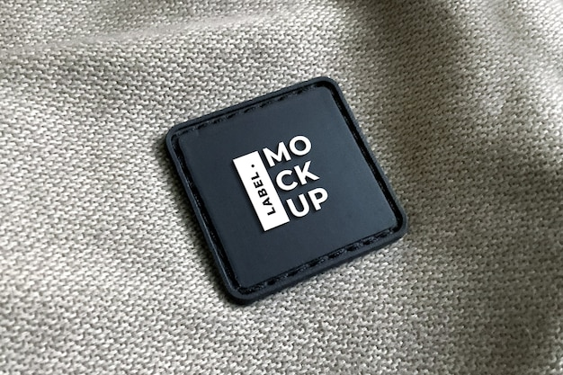 Black leather label mockup realistic square