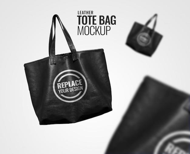 Black leather tote bag mockup
