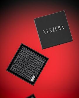 Макет логотипа коробки черного кожаного кошелька для презентации бренда 3d рендеринга