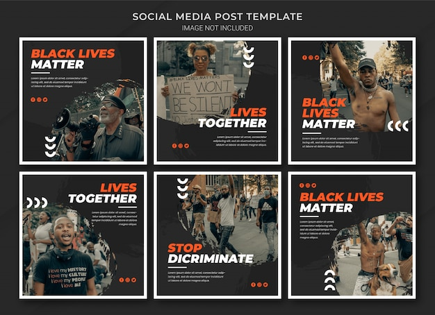 Black lives matter instagram post bundle template