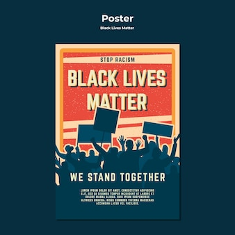 Black lives matter no racism poster template