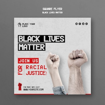 Black lives matter square flyer template