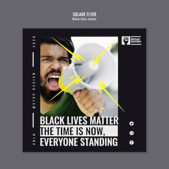 Black lives matter square flyer