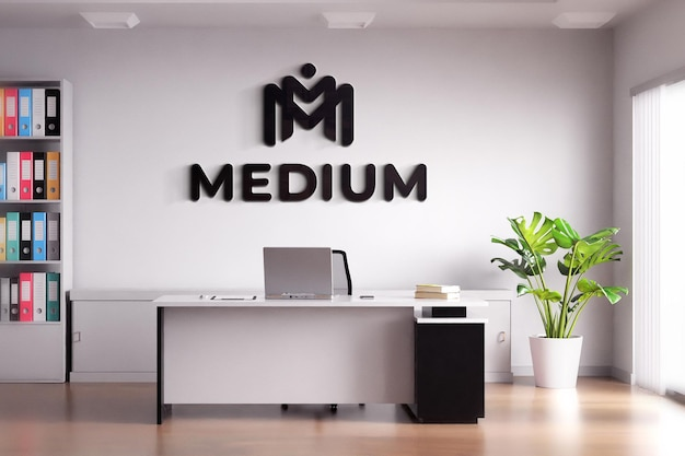 Black logo mockup sign office room white wall