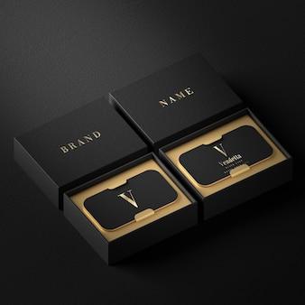 Black luxury business card holder mockup for brand identity 3d render