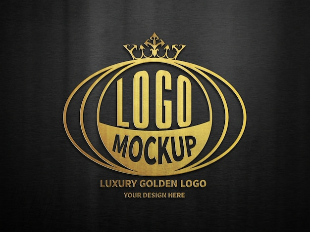 Black luxury golden 3d logo mockup