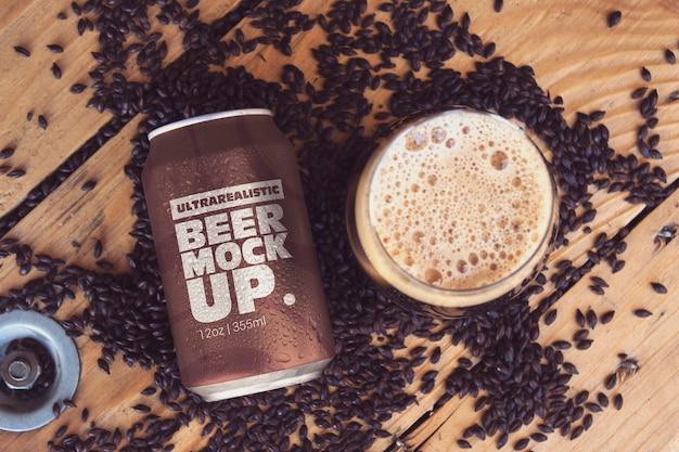 Black malt can & cup mockup