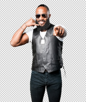 Black man calling gesture