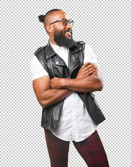 Black man crossing his arms