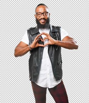 Black man doing a heart symbol