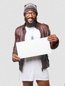 Black man holding a banner