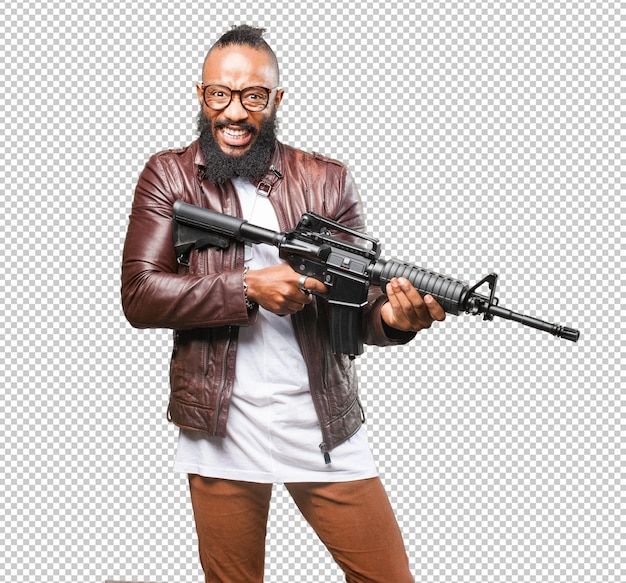 Black man holding a weapon