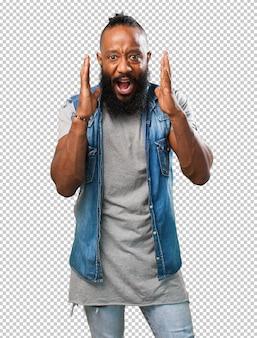 Black man shouting on white