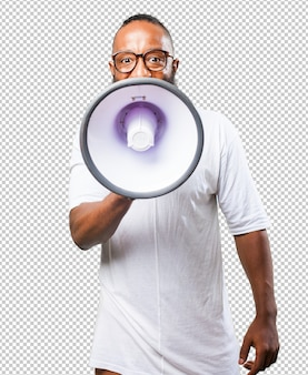 Black man shouting with a megaphone