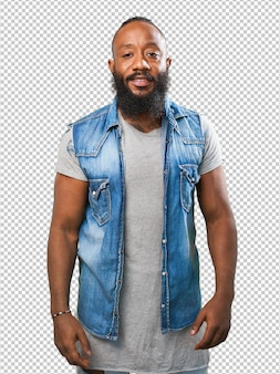 Black man smiling on white
