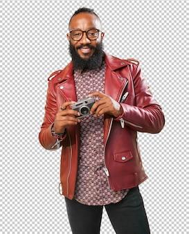 Black man taking a photo