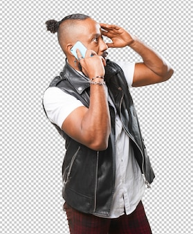 Black man talking on mobile