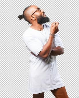 Black man thinking on white