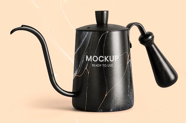 Black marble kettle mockup psd handmade experimental art