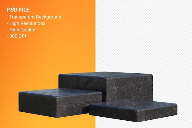 Black marble podium minimal isolated for cosmetic product presentation