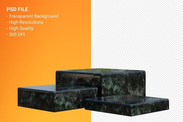 Черный мраморный подиум минимально изолированный для презентации косметической продукции
