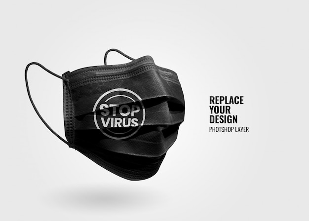 Black mask protection mockup
