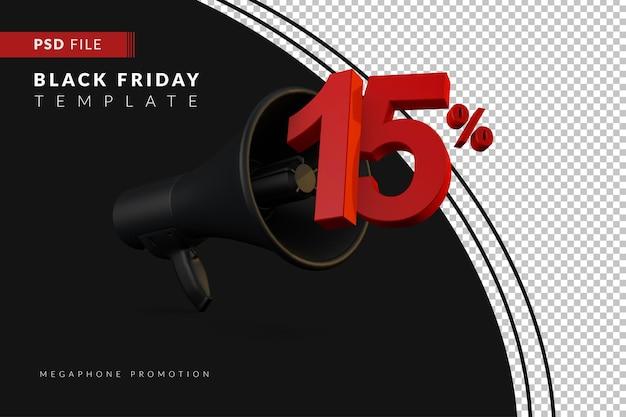 Скидка 15% на продажу черного мегафона на концепцию распродажи в 3d в стиле черной пятницы