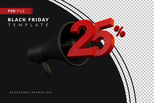 Промоакция черного мегафона на скидку 25% на концепцию распродажи в 3d в стиле черной пятницы