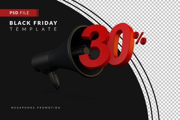 Акция на черный мегафон со скидкой 30% на концепцию распродажи в 3d в стиле черной пятницы