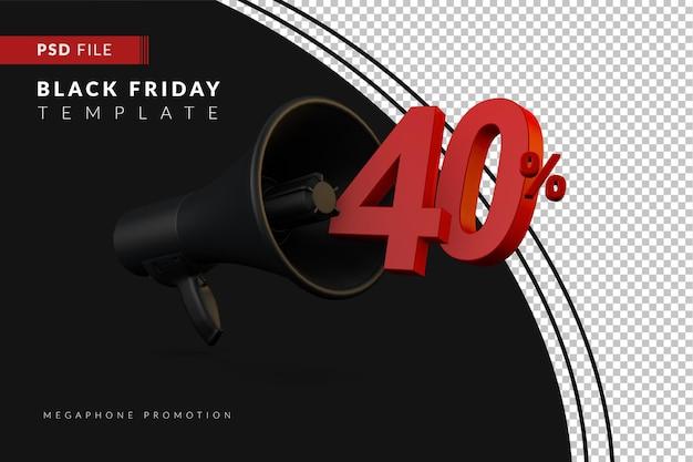 Акция на черный мегафон со скидкой 40% на концепцию распродажи в 3d в стиле черной пятницы