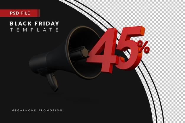 Акция на черный мегафон на скидку 45% на концепцию распродажи в 3d в стиле черной пятницы