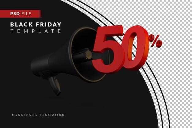 Скидка 50% на продажу черного мегафона на концепцию распродажи в 3d в стиле черной пятницы
