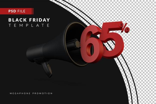 Акция на черный мегафон со скидкой 65% на концепцию распродажи в 3d в стиле черной пятницы