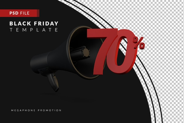 Промоакция черного мегафона на скидку 70% на концепцию распродажи в 3d в стиле черной пятницы